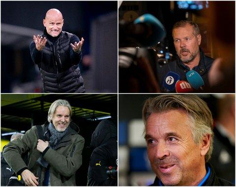 """HAR TRUA: Ståle Solbakken (øverst til venstre), Kjetil Rekdal (øverst til høyre), Jan Åge Fjørtoft (nede til venstre) og Jahn Ivar """"Mini"""" Jakobsen har alle stor tro på at Thomas Myhre kommer til å levere godt i rollen som sportssjef i Moss FK."""