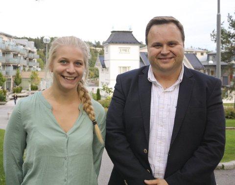 ENIGE: Ida Lindtveit (KrF) og Thomas Sjøvold (H) er enige om at en storutbygging på Svartskog skal ut av kommuneplanen. FOTO: KARIN HANSTENSEN