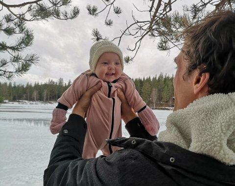DÅPSBARNET: Johanne Flaglien Norderhaug fikk en helt spesiell «dåp» søndag. Foto: Privat