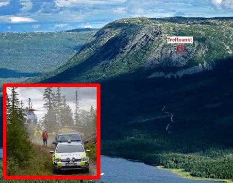 HER TRAFF FLYET: Ulykkespunktet der flyet kjørte i fjellveggen. Store politi og redningsmannskaper jobbet ved ulykkesstedet i etterkant.