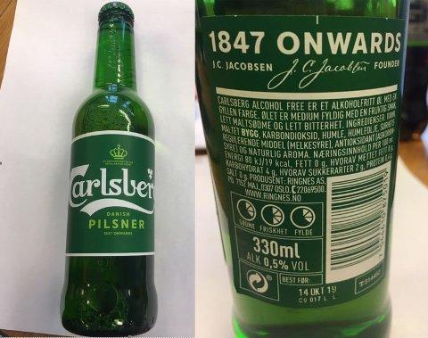 FINN ÉN FEIL: På framsida av flaska opplyses det om alkoholprosenten på 4,5. På baksida står det at innholdet er alkoholfritt.