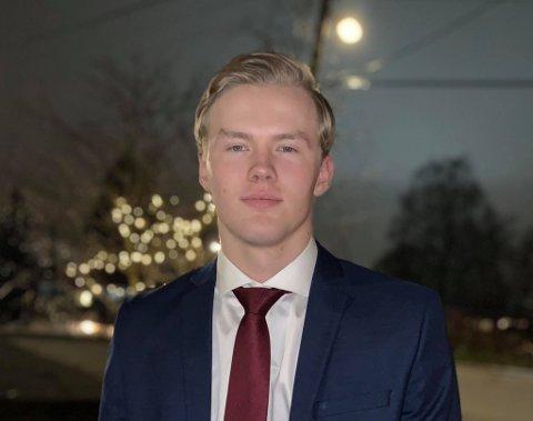 FRA SANDEFJORD TIL USA: Tom Røed Karlsen (19) skal bo i USA de neste fire årene. Om han vender tilbake til hjembyen etter endt tid der, er han usikker på. Men han utelukker ikke Sandefjord-retur.