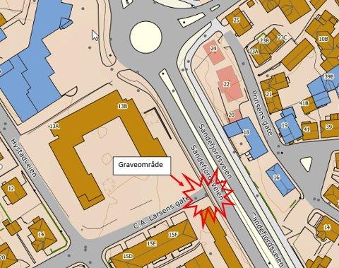 OMLEGGING: Trafikken legges om på grunn av gravearbeider på Sandefjordsveien fra 3. februar til 7. februar.  Kart: Sandefjord kommune