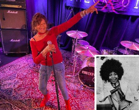 VOKALIST: Simona Johnsen er klar for å fremføre klassikeren «Bye Bye Baby Goodbye» på The Note lørdag 22. mai. Hun er kjent fra en rekke band, men mest fra gruppa «Rainbow». Det innfelte bilde sto på trykk i Sandefjords Blad, før hennes konsert på Tic-Hagen i 1975, med det svenske bandet «Venus».