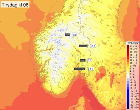 NATTEFROST: Det ble en kald start på morgenen flere steder.