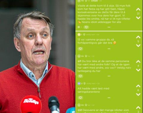 MYE DISKUSJON: På sosiale medier som Jodel har det vært mye diskusjon rundt de nye smittetilfellene. Nå ber ordfører Gunnar Wilhelmsen folk om å slutte å henge ut folk som er koronasmittet.