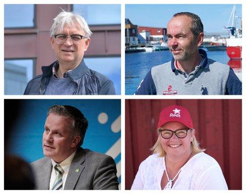 BINGO OM UTJEVNING: André N. Skjelstad (V), Øyvind Håbrekke (KrF), Tommy Reinås (MDG) og Hanne Fahsing (Rødt) kan alle stikke av med utjevningsmandatet i Nord-Trøndelag.