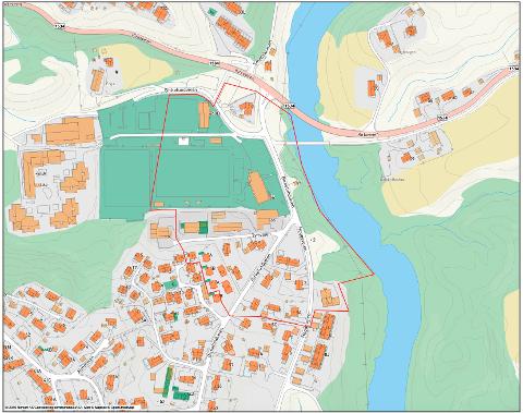 EVAKUERINGSSONE: Denne illustrasjonen viser evakueringssonen ved jordraset på Li og var vedlagt pressemeldingen fra Nittedal kommune.