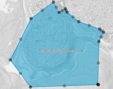 FLYTENDESONE: Kommunens forslag til område der ungene kan bli plukket ut til å gå enten på Sørli skole eller på Rotnes.