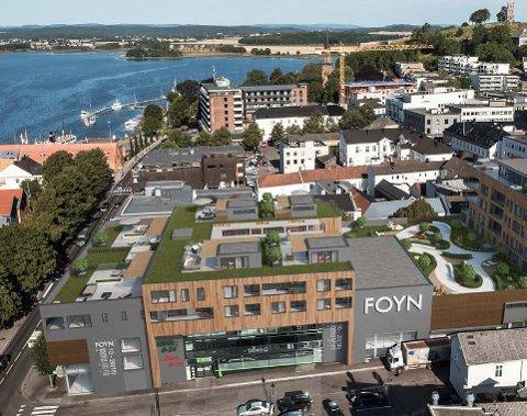Skanska skal bygge boligene på toppen av kjøpesenteret Foyn i Tønsberg. (Illustrasjon: KB Arkitekter)