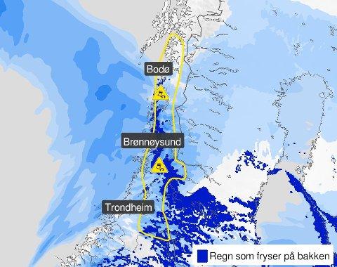 Fredag sendte Meteorologisk institutt ut gult farevarsel for Nordland.