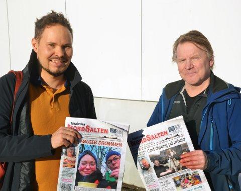 Nye eiere: Lars Theodor Kintel (t.v.) og Per Inge Finnesen er de to nye eierne av Lokalavisa NordSalten i Hamarøy.