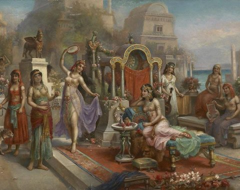 HENGANDE HAGAR: I Babylon kunne dei lage fest på nyttårsaftan. Og alle andre dagar. Illustrasjon: H. Waldeck/Wikipedia