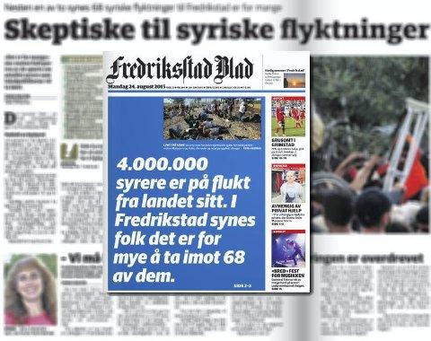 Tendensiøst? Fredrikstad Høyres leder mener at mandagens sak om Syria-flyktninger er tendensiøst fremstilt på førstesiden.