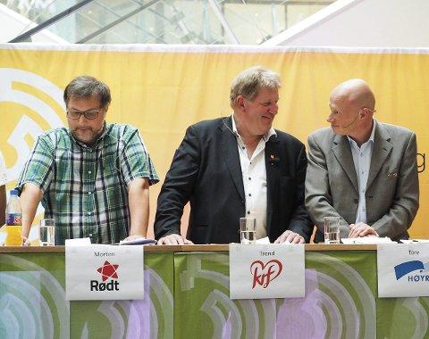 FORTSETTER HAN? Tore Nysæter (til høyre)  er i medvind og kan få fortsette som Høyre-ordfører hvis partiet fortsetter å vokse. Varaordfører Trond Millerjord (i midten) er såvidt inne - og kan havne i en vippeposisjon. Morten Qvam (til venstre) og Rødt er en av partiene Rune Edvardsen må lene seg mot.