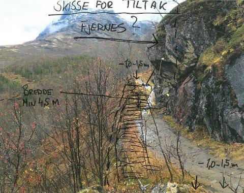 SKISSE: Slik er utkastet presentert. Den overhengende knausen til høyre i bildet skal altså ikke sprenges. I stedet skal det bygges rundt. Foto/illustrasjon: Narvik skiklubb