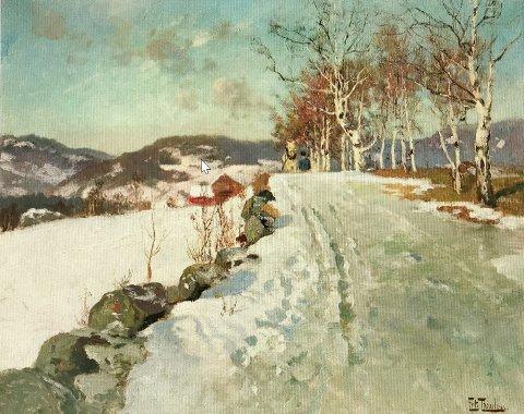 «Vinterlandskap ved Lillehammer» fra 1906, auksjoneres bort for hundretusener av kroner.