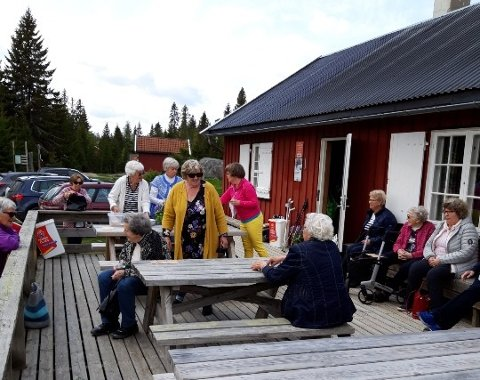 FIN DAG: Det var temperatur til å sitte litt ute også da Gran sanitetsforening tok turen til Sagvollen.