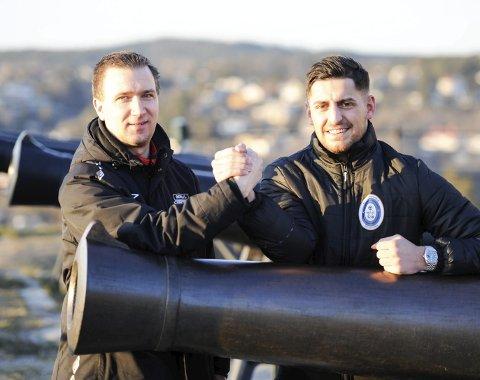 LOKAL DUELL: Thomas Hansen, trener i Berg IL, og Arber Shkodrani, spillende trener i Fredrikshald Prishtina, håper å kjempe i toppen av årets 6. divisjon.
