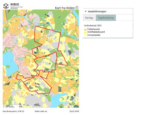 Jordbruksarealet i Kalbergområdet veksler mellom fulldyrka eng og innmarksbeiter. Mesteparten av den fulldyrka jorda har svært god eller god jordkvalitet.
