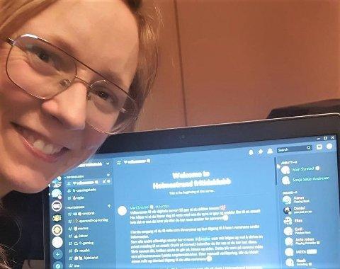 DIGITAL KLUBB: Mari Syrstad fra fritidsklubben er logget på Discord-klubben.
