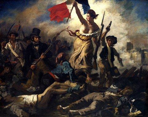 Eugène Delacroix sitt kunstverk «Friheten fører folket» fra 1830.