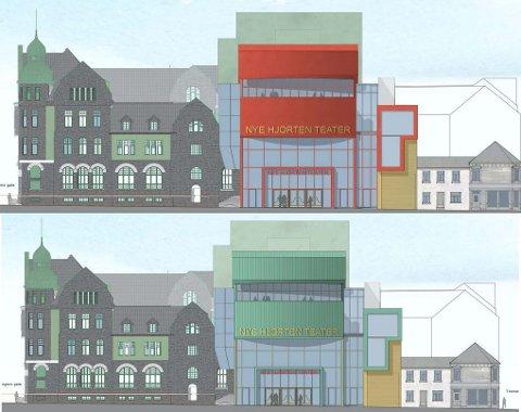 Slik er de to forslagene til Nye Hjorten teater, signert Skibnes arkitekter.