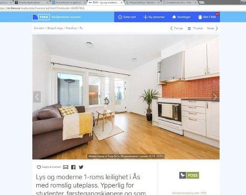 Faksimile: Den eneste boligen som var å finne på finn.no til en pris under to millioner kroner torsdag, er mest sannsynlig allerede solgt. – De som sitter med egenkapital, går som regel hardt ut for å få en av de få mindre boligene i markedet, mener eiendomsmegler Vibeke Haave.
