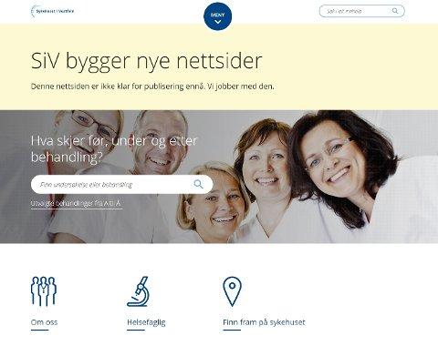 SNART KLARE: 1. november lanseres de nye sidene til Sykehuset i Vestfold på siv.no. Skjermdump