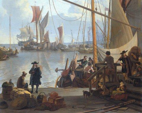Maleriet «Het IJ voor Amsterdam, van de Mosselsteiger gezien», malt av Ludolf Bakhuysen i 1673