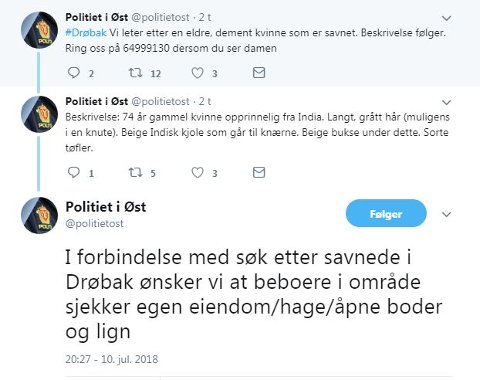 FLERE MELDINGER: Her er meldingene Øst politidistrikt har lagt ut på Twitter tirsdag.
