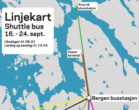 Linjekartet til Skyss viser direktelinjene som er sett opp under Sykkel-VM.