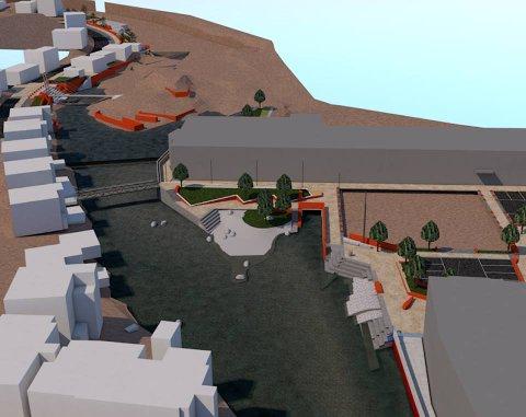 ELVEPARKEN: Illustrasjonen viser hvordan området mellom Svanedalsgården (midt på bildet) og Lundeåne bo- og servicesenter (nede til høyre) var tenkt å se ut. Nå skal anlegget forenkles etter at anbudene viste seg å ligge langt høyere enn det kommunen hadde beregnet.