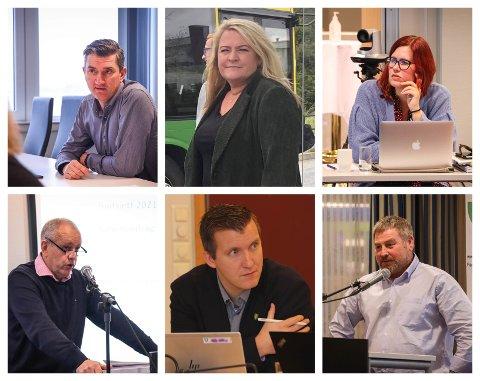 DISKUTERTE ETIKK: Debattklima er tema i eigersundspolitikken om dagen. Med klokka fra øverst til venstre: ordfører Odd Stangeland (Ap), May Helen Hetland Ervik (Frp), Bente Gravdal (Ap), Roald Eie (Frp), Halvor Ø. Thengs (SV) og John Mong  (KrF).