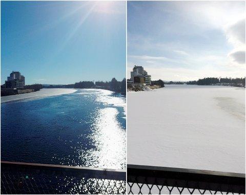 LANG VINTER: Bildet til venstre er tatt fra gangbrua på Skarnes 26. mars i fjor i sommertemperatur. I år ser det helt annerledes ut.