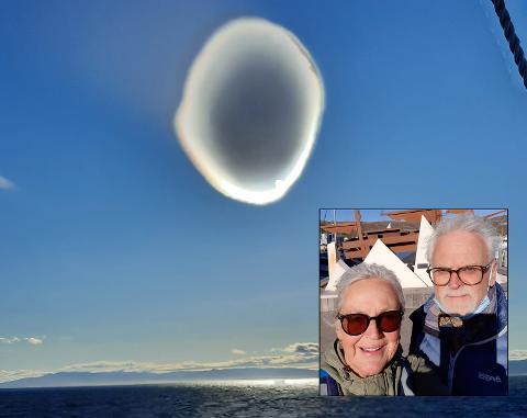 HVA ER DETTE?: Kristin Elisabeth Haugland og mannen var på tur med Hurtigruten da de så det usedvanlige fenomenet.