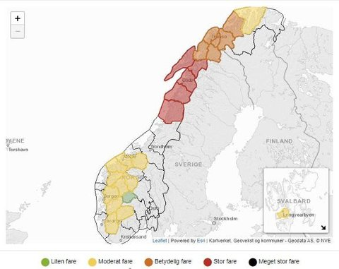 Stor fare: Det er meldt stor snøskredfare i Lofoten og Nordland onsdag.