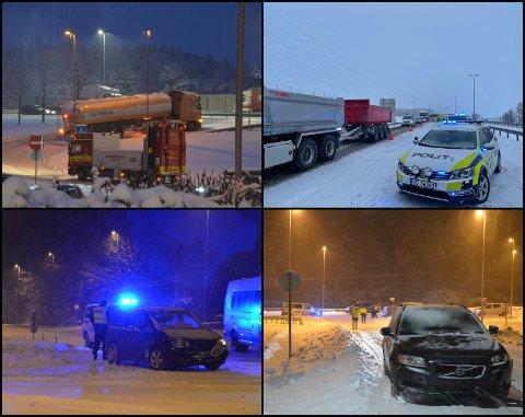 FLERE HENDELSER: Onsdag har det oppstått flere hendelser i trafikken grunnet været.