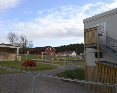 OMREGULERES: Tomten foran Skullerud gård har hatt midlertidig barnehage. Nå er den regulert så det kan bygges permanent barnehage. Arkivfoto