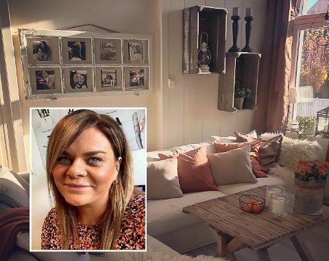 STUA: Jeannett (32) bytter stadig ut interiøret i stua med nye møbler som hun har pusset opp selv.