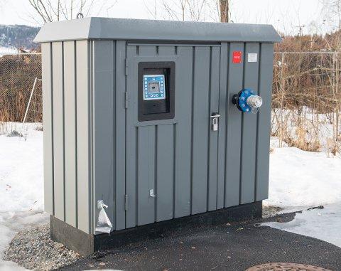 Slik: Den ene kiosken som er på plass er i Boligvegen i Moelv rett nedenfor jernbanen.