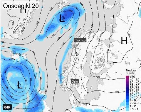 NEDBØR: På torsdag kommer det inn et nedbørsområde fra vest som kan gi vått vær.