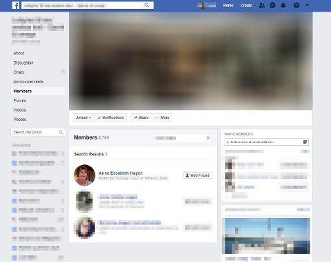 Anne-Elisabeth Hagen ble lagt til en Facebook-gruppe i mars 2018. Politiet undersøker om dette kan ha noe med forsvinningssaken å gjøre. Foto: Skjermdump