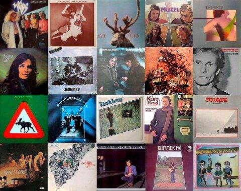 Disse 20 platene står nå på tapetet å få fullfinansiert og nyutgitt som CD - det er ikke så mye som mangler. Foto: Norske albumklassikere / Facebook  NTB kultur