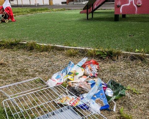 SØPPEL: Dette synet møtte Bodil Sundbrei da hun gikk en tur ved den nyoppussede skolen. Her har hun samlet søppelet i en haug.