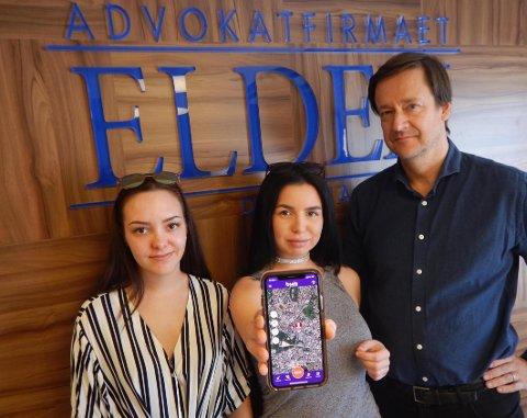 NYHET: De to voldtektsutsatte Andrea Voll Voldum (til venstre) og Charlen Larsen tror i likhet med adv. John Christian Elden at den nye bSafe-appen vil være banebrytende i kampen mot voldtekt og andre typer overgrep.