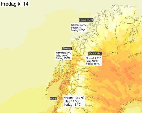 Det forventes ikke akkurat tropevarme i #NordNorge de neste dagene, men vi får et solid hopp opp på termometeret! Fra 7-10°C i dag til 12-18°C på fredag. Det blir varmest sør for Lofoten og i indre strøk, mens kystområdene blir kjøligere, melder meteorologene på Twitter.
