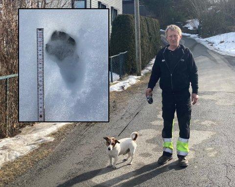 MÅLTE SPORENE: Egil Jakobsen målte opp sporene etter opplevelsen i Lier.