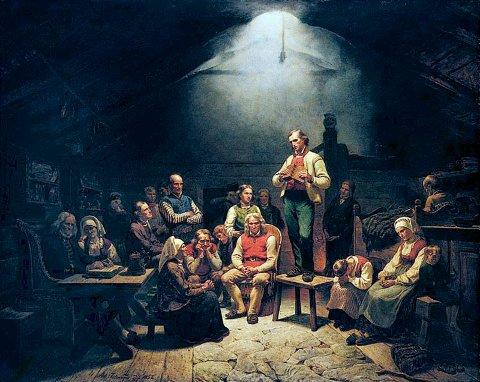 Haugianerne. Maleriet av Tidemand og Gude fra 1852 er den store skildringen av Hans Nielsen Hauges virke.