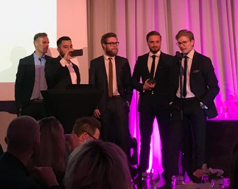 I VINDEN: Byrået «Cure» under prisutdelingen i Bergen. På bildet fra venstre: venstre: John Modahl, Sinan Shahinian, Sjur Vågen, Brage Brenna-Lund og Bendik Bergh.